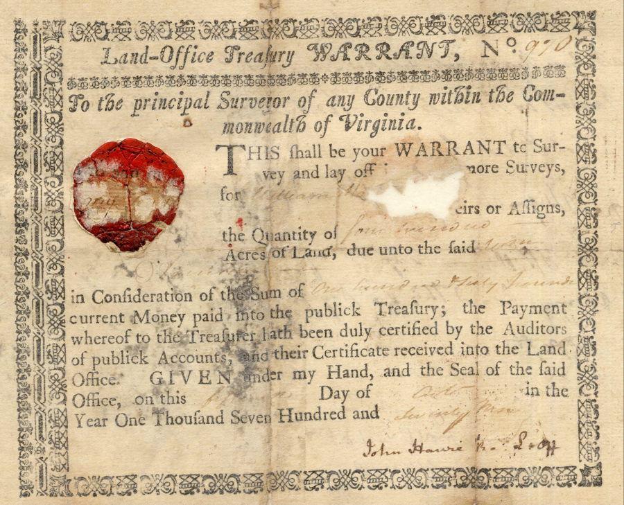 Bullitt County History - Nicholas Brashear's 400 Acre Warrant for