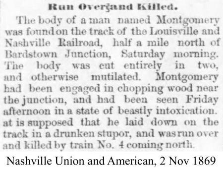 Bardstown Jct. Train Death in 1869